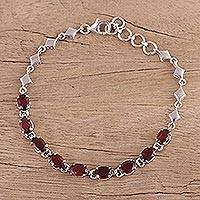 Rhodium plated garnet link bracelet, 'Refreshing Red' - Rhodium Plated Garnet Link Bracelet from India