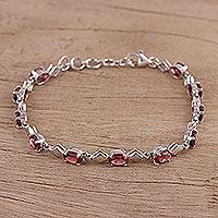 Rhodium plated garnet link bracelet, 'Inspiring Red' - Garnet and Rhodium Plated Silver Link Bracelet from India
