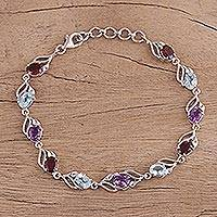 Rhodium plated multi-gemstone link bracelet, 'Colorful Leaves' - Rhodium Plated Multi-Gemstone Link Bracelet from India