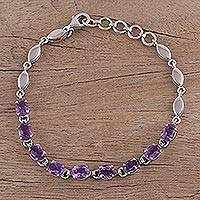 Amethyst tennis bracelet, 'Refreshing Lavender' - Adjustable Amethyst and Rhodium Plated Silver Bracelet