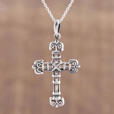 Sterling silver cross pendant necklace, 'Bound in Faith' - Sterling Silver Cross Pendant Necklace from India