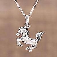 Sterling silver pendant necklace, 'Prancing Steed' - Horse Pendant Necklace in Sterling Silver from India