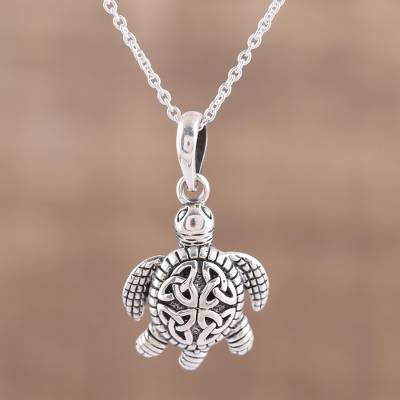 Sterling silver pendant necklace, 'Trinity Turtle' - Sterling Silver Celtic Trinity Knot Turtle Pendant Necklace