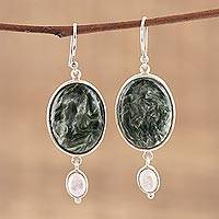Seraphinite and rainbow moonstone dangle earrings, 'Forest Spell' - Oval Green Seraphinite Stone and Moonstone Dangle Earrings