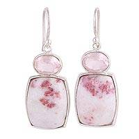 Rose quartz and dolomite dangle earrings, 'Cherished Rose' - Handcrafted Rose Quartz and Dolomite Dangle Earrings