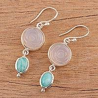 Agate and amazonite dangle earrings, 'Shy Rose' - Rose Motif Earrings with White Agate and Amazonite