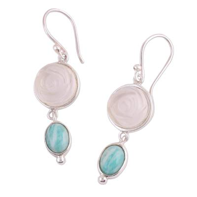 Rose Motif Earrings with White Agate and Amazonite