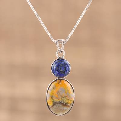 Lapis lazuli and jasper pendant necklace, 'Shy Rose' - Bumblebee Jasper and Lapiz Lazuli Rose Necklace