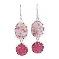 Quartz and dolomite dangle earrings, 'Rose Blush' - Handmade Quartz and Dolomite Sterling Silver Dangle Earrings