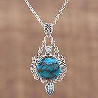 Blue topaz pendant necklace, 'Blue Charm of the Sky' - Blue Topaz and Composite Turquoise Earrings from India