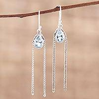 Blue topaz dangle earrings, 'Sky Chains' - Teardrop Blue Topaz Dangle Earrings from India