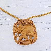 Wood pendant necklace, 'Forest Elephant' - Elephant Wood Pendant Necklace Hand Carved in India