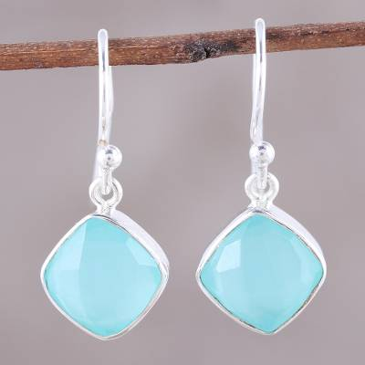 Chalcedony dangle earrings, 'Sea Glass' - Faceted Aqua Chalcedony Dangle Earrings