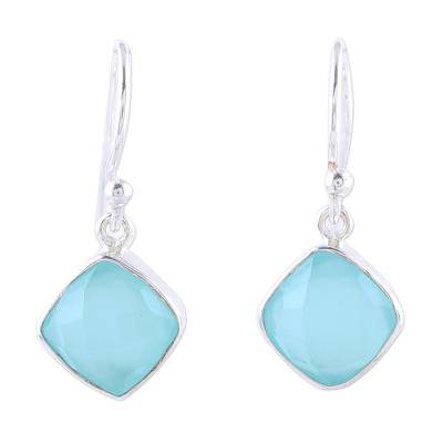Novica Blue Chalcedony and Sterling Silver Dangle Earrings