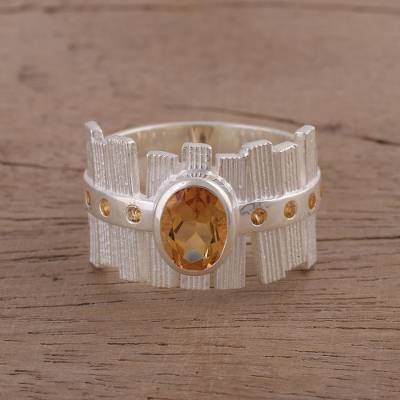jewelry ring bender - Textured Rhodium Plated Silver Ring with Citrine