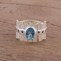 Blue topaz and iolite cocktail ring, 'Picket Fences' - Unique Rhodium Plated Ring with Blue Topaz and Iolite