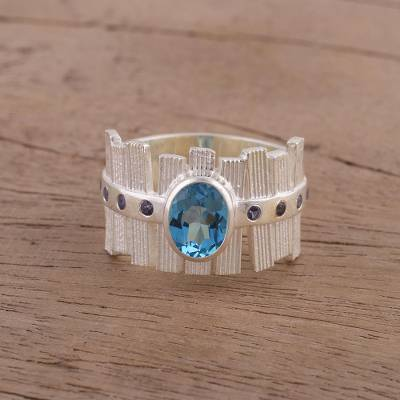 ringside boxing - Unique Rhodium Plated Ring with Blue Topaz and Iolite