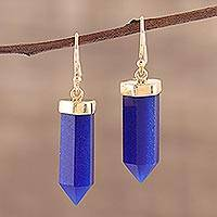 Gold plated onyx dangle earrings, 'Cobalt Bullet' - Yellow Gold Plated Earrings with Cobalt Blue Onyx
