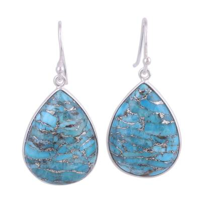Dangle Earrings with Composite Turquoise and Silver