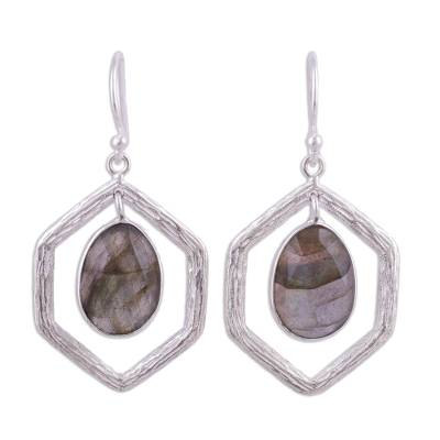925 Sterling Silver and Labradorite Dangle Earrings