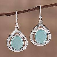 Chalcedony dangle earrings, 'Aqua Sparkle' - Teardrop Shaped Chalcedony and Silver Earrings