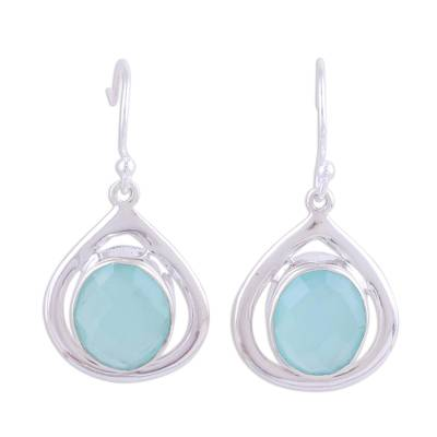 Teardrop Shaped Chalcedony and Silver Earrings