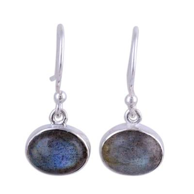 Sterling Silver Hook Earrings with Labradorite Cabochons