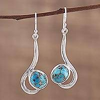 Sterling silver dangle earrings, 'Cool Sabarmati' - Sterling Silver Dangle Earrings with Composite Turquoise