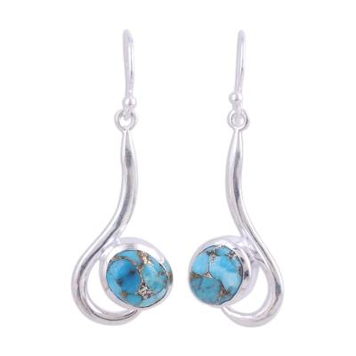Sterling Silver Dangle Earrings with Composite Turquoise