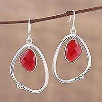 Ruby dangle earrings, 'Asteroid' - Faceted Ruby Dangle Earrings with Sterling Silver