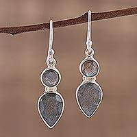Labradorite dangle earrings, 'Dewdrop Muse' - Faceted Labradorite Gemstone and Silver Dangle Earrings