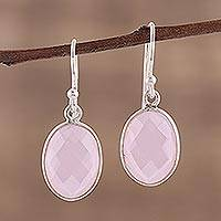 Rose quartz dangle earrings, 'Bashful Rose' - Faceted Rose Quartz Earrings Totaling 12 Carats