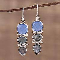 Labradorite and chalcedony dangle earrings, 'Cool Eventide' - 19 Carat Chalcedony and Labradorite Dangle Earrings