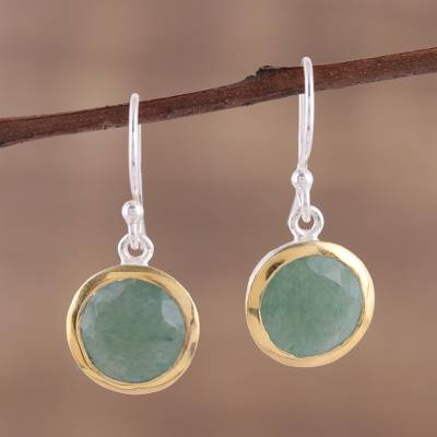 Gold accent aventurine dangle earrings, 'Forest Glade' - Gold Accented Dangle Earrings with Aventurine