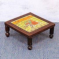Wood stool, 'Royal Adventure' (medium) - Handcrafted Elephant-Themed Wood Stool (Medium) from India