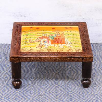 Wood decorative stool, 'Royal Adventure' (14 inch) - Handcrafted Decorative Elephant-Themed Wood Stand (14 Inch)