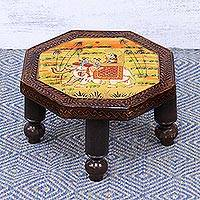 Wood decorative stool, 'Mughal Couple' (12 inch) - Handmade Octagonal Decorative Wood Stool from India (12 inch