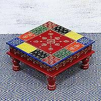 Wood stool, 'Flower Colors' (large) - Handcrafted Floral Colorful Wood Stool (Large) from India