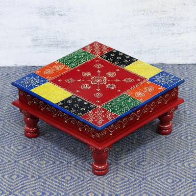 Wood stool, 'Flower Colors' (18 inch) - Floral Colorful Wood Stool (18 in.) from India