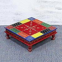Wood stool, 'Flower Colors' (small) - Handcrafted Floral Colorful Wood Stool (Small) from India