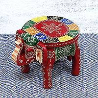 Wood stool, 'Holi Elephant' - Hand-Painted Elephant-Themed Wood Stool from India
