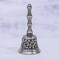 Nickel plated brass bell, 'Happy Vine' - Vine Motif Nickel Plated Brass Bell from India