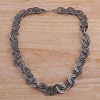 Sterling silver link necklace, 'Splendorous Ovals' - Sterling Silver Oval Link Necklace from India