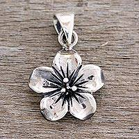Sterling silver pendant, 'Fantasy Petals' - Handcrafted Sterling Silver Flower Pendant from India