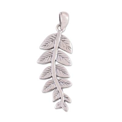 Artisan Crafted Leafy Sterling Silver Pendant from India