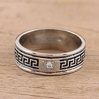 Sterling silver band ring, 'Sparkling Wanderer' - Sterling Silver and CZ Band Ring from India
