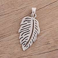 Sterling silver pendant, 'Single Leaf' - High-Polish Sterling Silver Leaf Pendant from India