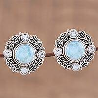 Larimar and blue topaz button earrings, 'Transcendent Sky' - Button Earrings with Larimar and Blue Topaz from India