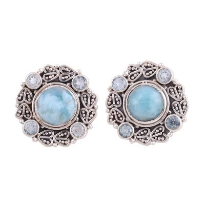 Button Earrings with Larimar and Blue Topaz from India