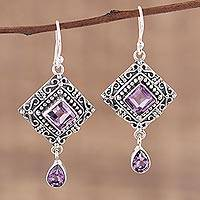 Amethyst dangle earrings, 'Castle Walk' - Artisan Crafted Sterling Silver and Amethyst Earrings